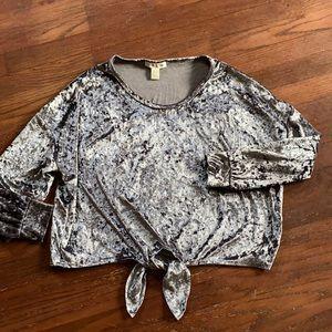 Crush velvet shirt.